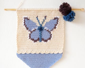 Butterfly Crochet, Girls Gift, Patterns for Crochet, Adonis Blue, Lilac Color, Kids Room, Wall Hanging, Intarsia Crochet, Lilac Purple