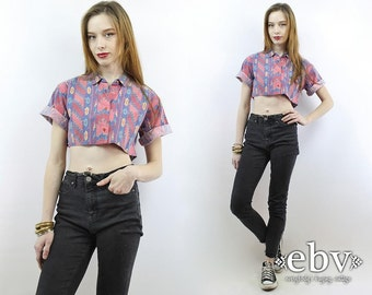 Vintage 90s Southwestern Crop Top M L Cropped Top Cropped Blouse Midriff Top Cropped Shirt Festival Top Southwest Crop Top Hippie Top