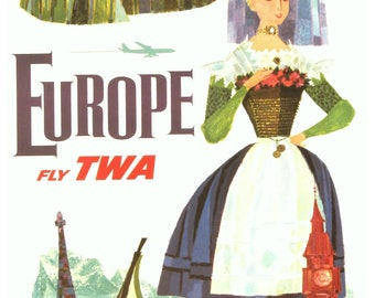 Vintage Europe TWA Travel Poster Print