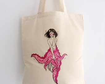 Squid Mermaid Pinup Canvas Shopper Bag