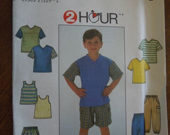 Simplicity 7990, sizes 5-8, pants, shorts, knit top, tank top, boys, childrens, UNCUT sewing pattern, craft supplies