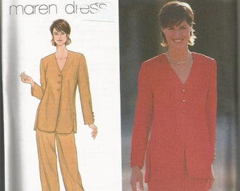 1990s Maren V Neck Jacket Slim Skirt Pants Full Figure Pattern Simplicity 9128 Uncut FF Sz 20-22-24 Bust 42-46 Womens Vintage Sewing Pattern