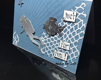 the diver and fish card: handmade original card
