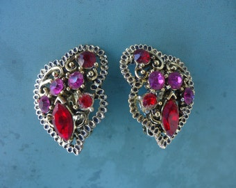 Red and Pink Rhinestone Clip On Earrings