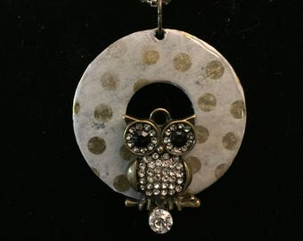One of a Kind Washer Necklace Handcrafted Owl Rhinestone Details (Free Shipping)