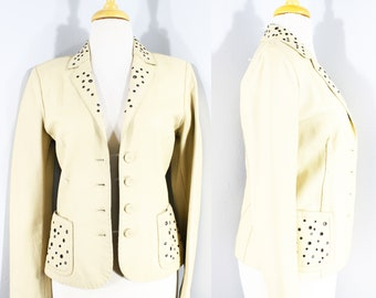 1990s Cream Leather Blazer by Donald Pilner, Extra Small | 90s Buff Leather Jacket (XS, 4, 34-29-34)