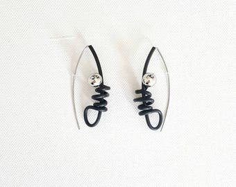 Contemporary earrings Rubber earrings Long earrings Gift for her Modern earrings Black earrings Statement earrings Dangle earrings