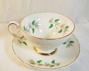 Crown Staffordshire Eden Green Grape Berry Teacup & Saucer Set Vintage