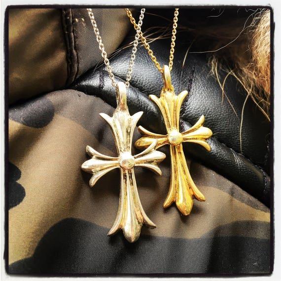 Etherial Jewelry - Rock Chic Talisman Luxury Biker Custom Handmade Artisan Pure Sterling Silver .925 Bespoke Crucifix Cross Badass Pendant