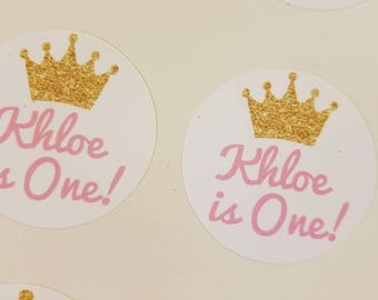 You pick colors! 20 Personalized 1st Birthday party One in with crown Vinyl Decal stickers DIY tags Labels Cups Favors Invitation Seal