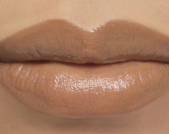 "Vegan Lipstick - ""Honeybear"" light nude beige mineral lip color with all natural ingredients"