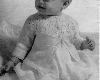 Baby Knitting Pattern pdf 1950s Baby Matinee Coat Matinee Jacket & Baby Cardigan 3 Ply Matinee Coat 17-20 inch 3 Ply PDF instant download