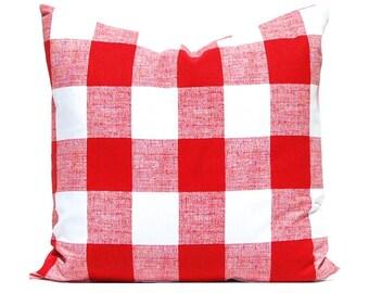 Christmas Plaid Throw Pillow Cover - Buffalo Check Pillow Cover - Red Pillow Cover - Large Scale Plaid Pillow Cover - Red Buffalo Check
