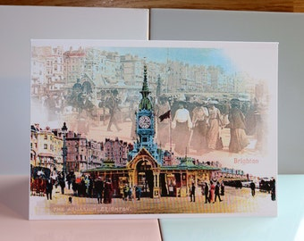 Brighton Aquarium, Sealife Centre, Palace Pier, Beach, Seafront, Madeira Drive, Vintage cards, British Seaside, Sussex Art, Greeting Card.
