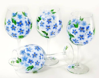 Wildflower Glasses Set of 4 Blue Periwinkle Glasses Hand Painted Gifts for Her, Woman Retirement Gift, Choose Your Stemware Beverage Set