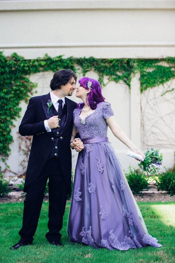 Victorian Lilac Lace Wedding Dress with Cap Sleeves Custom