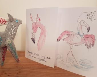 Flamingo Christmas Cards - Alternative Christmas Card - Pack of 4 cards 2 of each design
