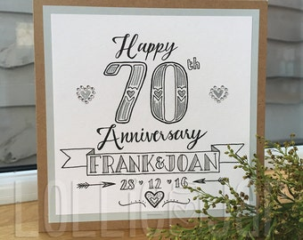 Personalised Wedding Anniversary Hand Drawn Typography Card