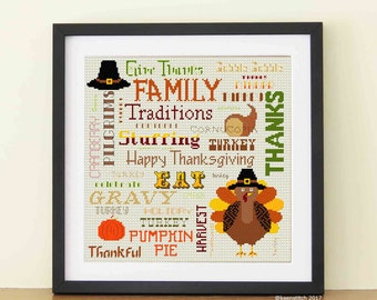 Happy Thanksgiving - Turkey Cross Stitch Pattern PDF Family Pilgrims Pumpkin Pie Cranberry  Give thanks Grateful by keenstitch