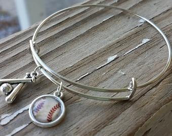 Baseball Adjustable Bangle  Adjustable Bracelet  Baseball Jewelry