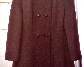Vintage 1960s Brown Coat Princess Style  Mod Jackie O Mad Men Small Medium