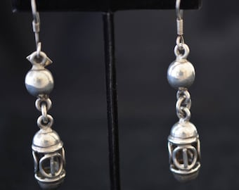 Sterling silver lantern-style drop earrings. Marked TG-107 Mexico 925 on sterling tag. 19.7 grams