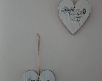 Heart wall decor in wood