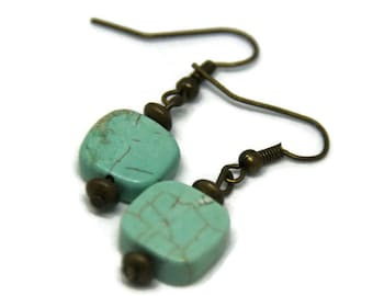 """Earrings """"Simplicity"""" in bronze and turquoise"""