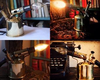 Industrial Vintage Steampunk Brass Blowtorch Lamp