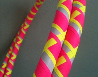 Bright Eyed Dance & Exercise Hula Hoop COLLAPSIBLE Polypro, HDPE, beginner, advanced, or weighted - neon pink uv yellow bright colored
