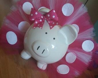Large Pink and White Polka Dot Tutu Piggy Bank