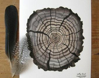 Petrified Log Print, giclee art print, faux bois, tree rings, woodland illustration, nature watercolour