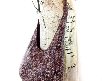 Cross Body Hobo Bag Purse,  Boho Aztec Fabric Tote Bag, Brown Shoulder Bag.