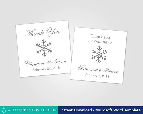 Printable Snowflake Favor Tags Template for Microsoft Word • Winter ...