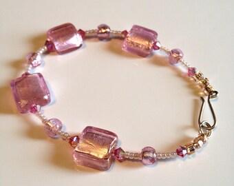 Cotton Candy Lampwork Glass Beaded Bracelet Brand NEW!