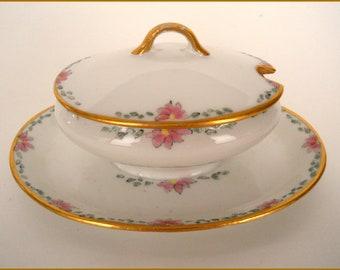 Limoges Antique Porcelain CONDIMENT Bowl/Plate/Dish Hand Painted Floral/Gold - c.1909