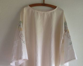 Womens top Poet Blouse Repurposed Embroidery Vintage Linen Clothing Embroidered smallforest petite to small size