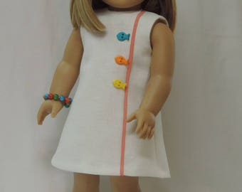 18 inch American doll clothes 1960's white linen dress, bracelet