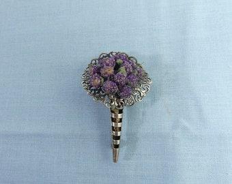 Brooch Pin Posy Holder Tussie Mussie Silver Plate Flower Holder Filigree