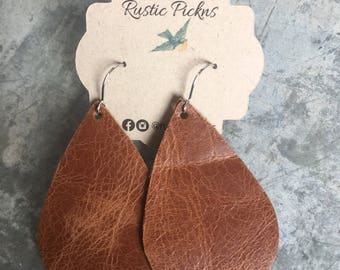 Worn Brown Leather Teardrop Earrings
