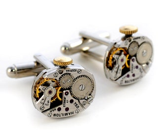1950's Hamilton Steampunk Watch Movement Cuff Links