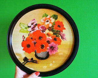 Kitschy Vintage Floral Tray / Retro Vintage Bouquet Tray / Home Decor Dresser Tray / Metal Tray