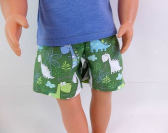 "Swimsuit or Shorts for 18"" Boy Doll Green Dinosaurs Fits American Girl Doll"