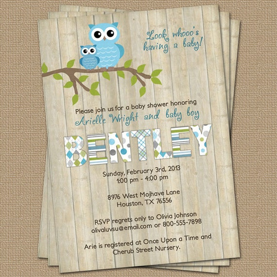 Owl baby boy shower invitation with wood background blue like this item filmwisefo Image collections