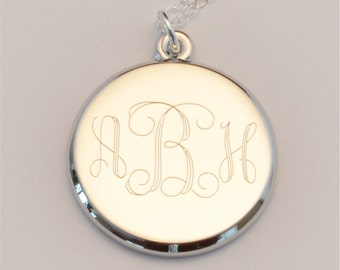 FREE SHIPPING Medium Custom Engraved Monogram Charm Necklace, Personalized Bridesmaid Necklace, FREE Gift Wrapping, Mother's Day Gift