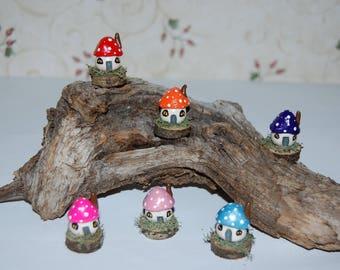 Miniature Toadstool Cottage, Fairy House, Terrarium or Fairy Garden Accent