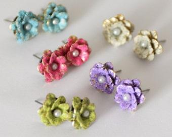 Tiny Rose Stud Earrings, Mini Enamel Stud Earrings, Colorful Stainless Steel Stud Earrings, Pink Rose Studs, Floral Stud Enamel Earrings