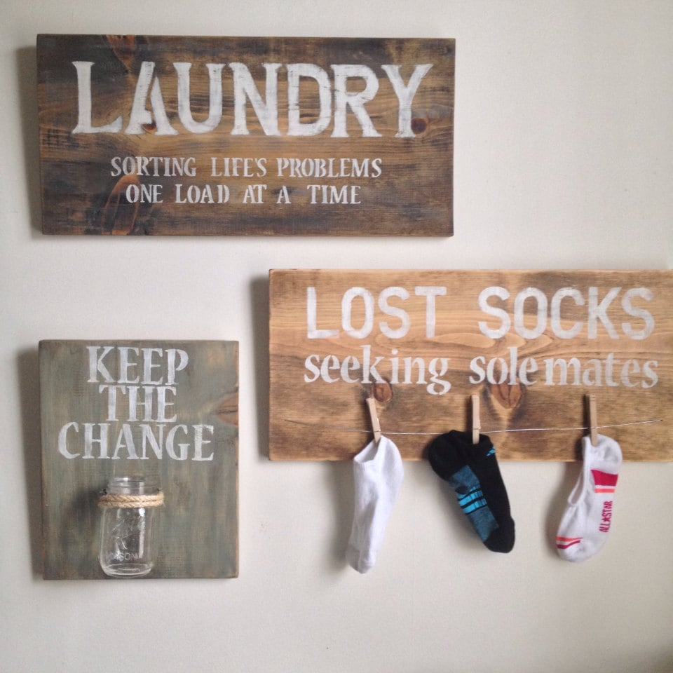 Laundry Sign With Hooks Laundry Room Decorshoponelove On Etsy $15000  I Could