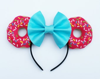 Pink Sprinkle Doughnut Mouse Ears   Donut Mouse Ears   Donut Mickey Ears   Doughnut Mickey Mouse Ears   Food Mouse Ears