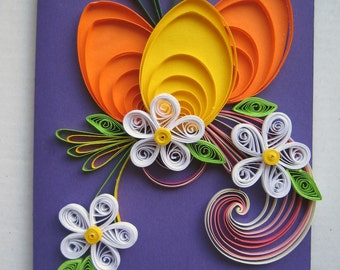 Easter cards etsy in handmade easter greeting card colorful quilling card easter card holiday card with quilling egg flowers for family friend co worker mightylinksfo